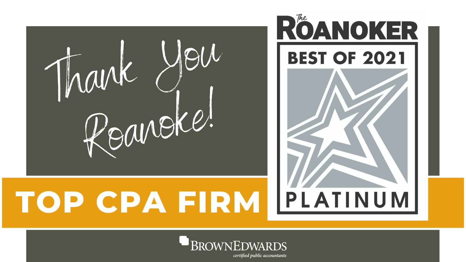 Brown Edwards Voted Best CPA Firm in Roanoke